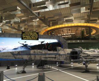 Star wars logo og romskip